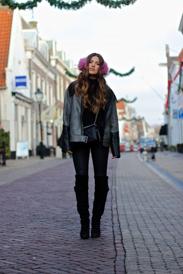 RED REIDING HOOD: My top 10 fashion blogs Negin Mirsalehi Most promosing fashion blog stylight Dutch instram girl pink earmuffs all black everything model off duty streetstyle fashion blogger outfit inspiration