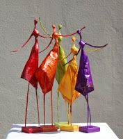 colorful pape mache sculptures