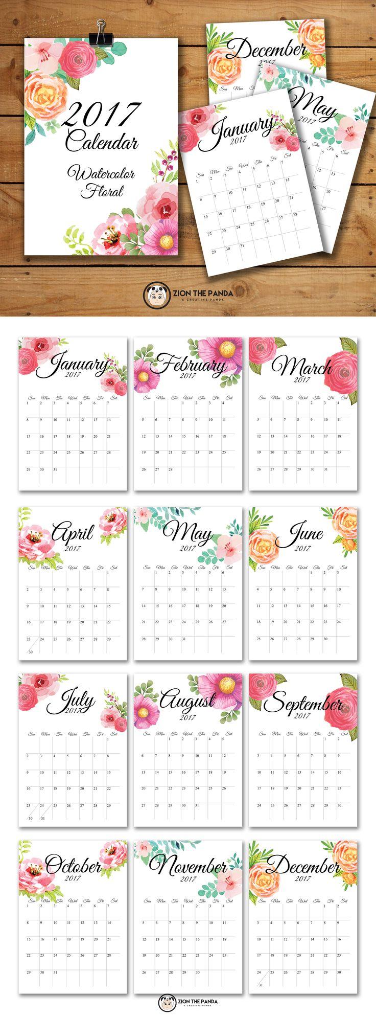 Calendario mensual 2017 flores