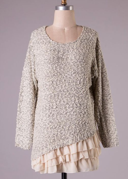 grey knit sweater with ruffle hem