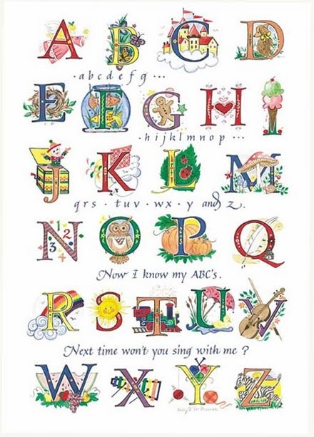 Colorful alphabet with popular children's song intermingled.