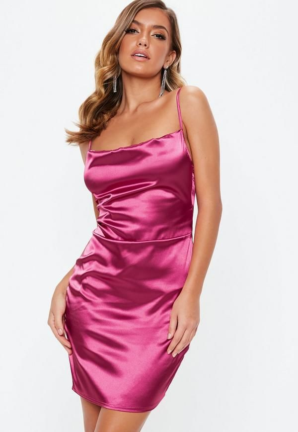0428934e22a1 mauve satin mini dress with cowl front detail. Black Satin Square Neck ...