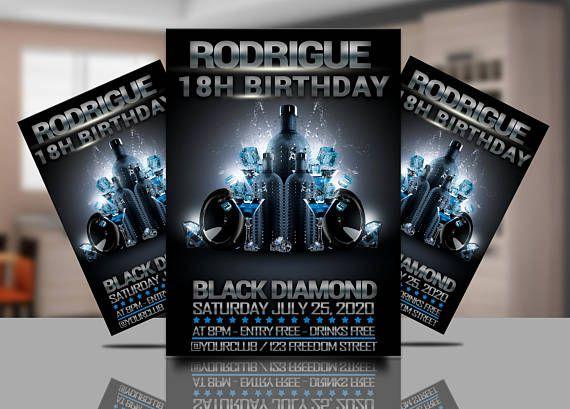 Birthday Party Black Flyer Invitation Club Invitations Black