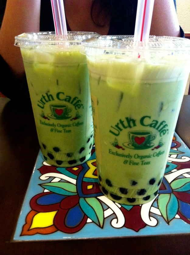 Green tea milk boba from Urth Caffe. | 33 Things People In Los Angeles Absolutely Love