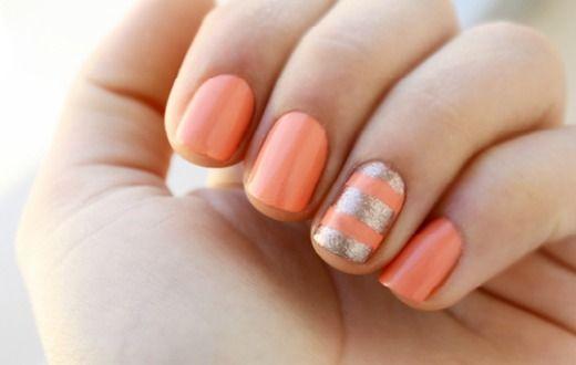 metallic striped nails: Nails Art, Gold Nails, Accent Nails, Nailart, Color, Spring Nails, Summer Nails, Gold Stripes, Coral Nails