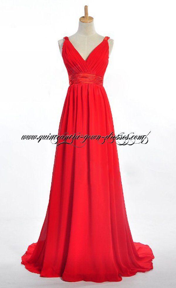 Red V-Neckline Plus Size Formal Evening Dress 2132