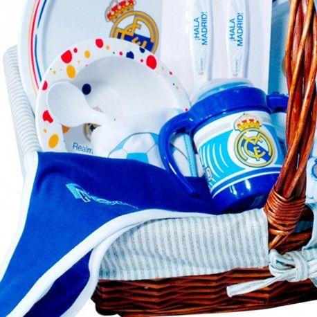 Cesta Real Madrid 1 -  canastilla para bebé del Real Madrid, muy completa y con productos de licencia Oficial del Real Madrid - Envíos a Toda España