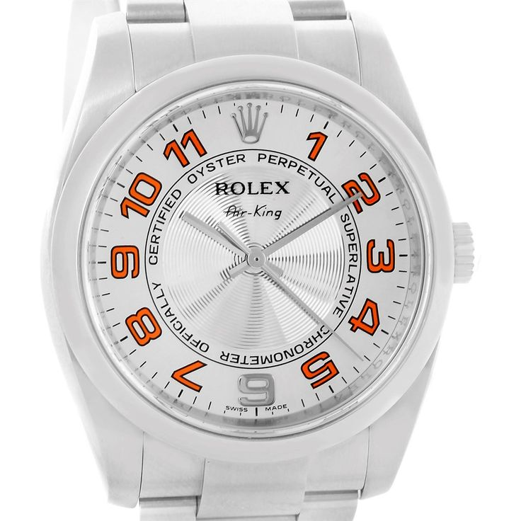 Rolex Air King Concentric Silver Orange Dial Watch 114200 Box Papers