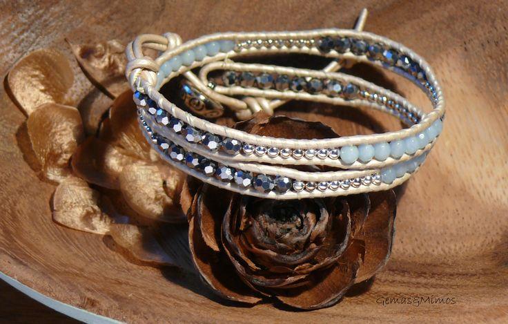 Amazonita, cristal checo y plata #jewelry #handmade #wraps #gemstones #joyeria #hechoamano #artesania #piedras