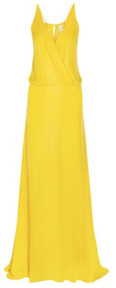 Robe longue à bretelles croisée devant en georgette de soie jaune, Mason by Michelle Mason