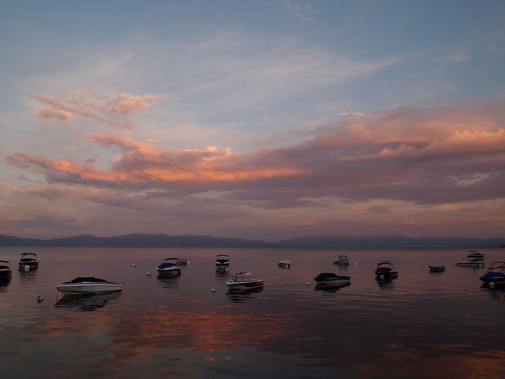 A gorgeous sunset in South Lake #Tahoe!  #Weather #Nature #Sunset #Sunrise #Pretty #Lake #Shore #Shoreline #Pink #Clouds #Calm #Relaxing #SouthLake #Boating #Sky   See more about the weather in Tahoe at www.qwikcast.com