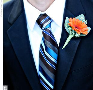 Gerbera Daisy Boutonniere-good way to incorporate several colors