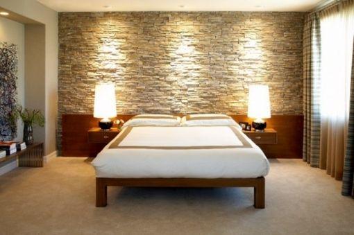 chambre avec mur en pierre design