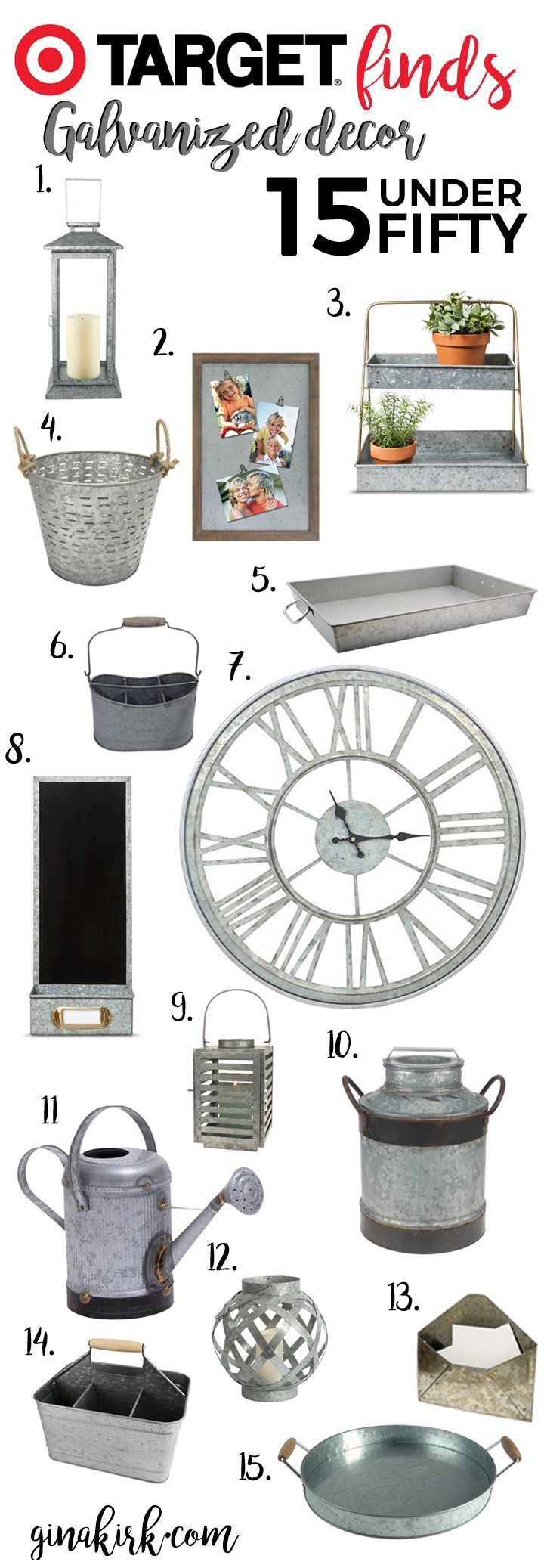 Fixer upper inspired galvanized home decor | Target finds under $50 | Farmhouse design and style inspiration | Fixer upper for less: kitchen, family room, bathroom and more! http://GinaKirk.com