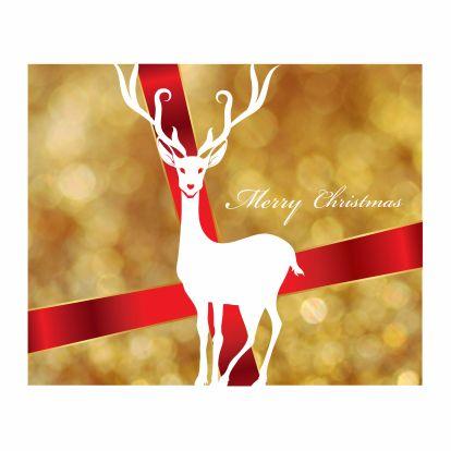 Kerstkaarten - rendier strik en gouden achtergrond