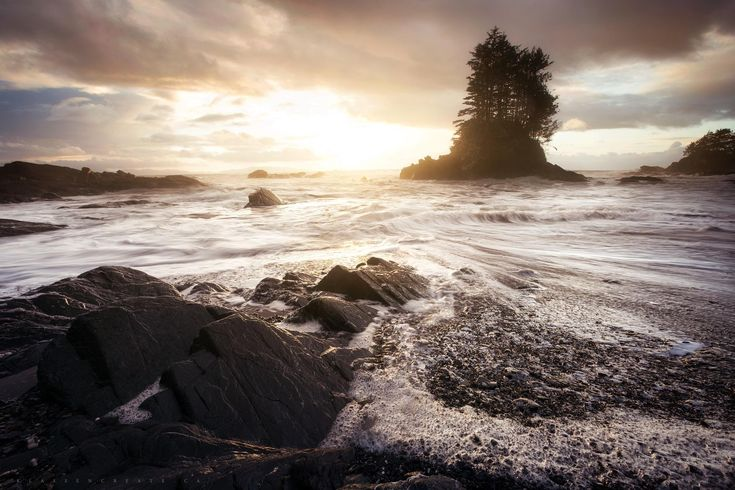 The sun breaking through after a storm on Botanical Beach Vancouver Island B.C. [OC][2000x1333]