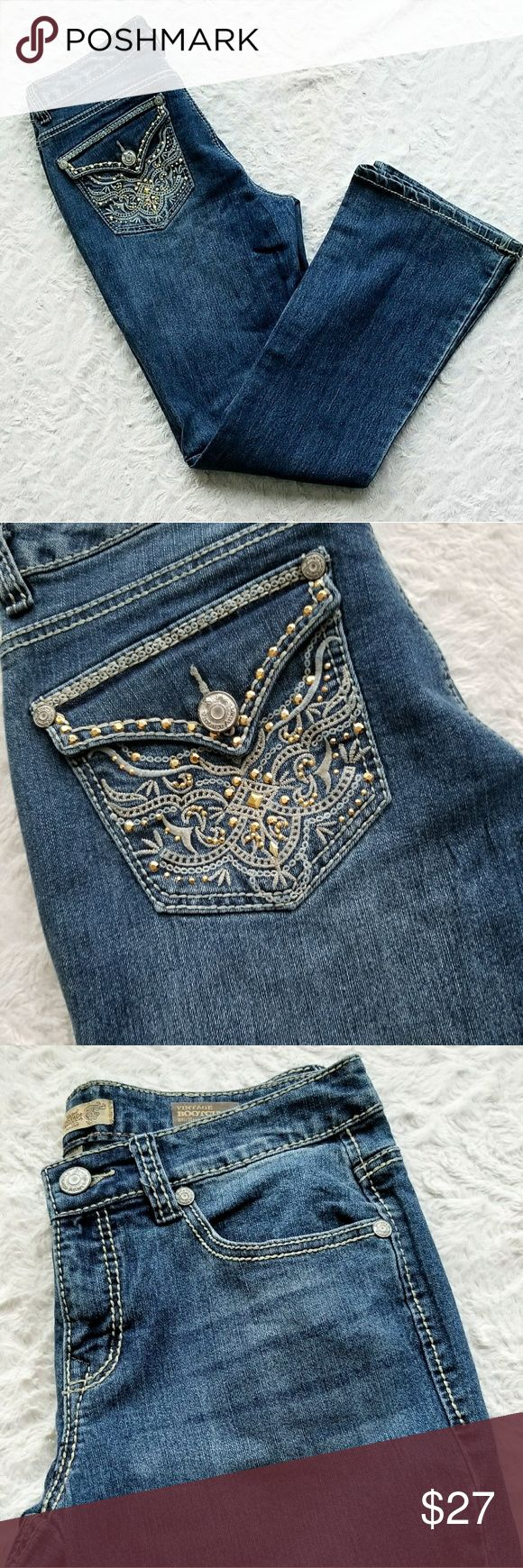 """NINE WEST VINTAGE BOOTCUT JEANS 8/29 NINE WEST  VINTAGE BOOTCUT JEANS  Size 8/29 Embellished Pockets 5 pocket  Belt loops  Pocket Flaps  Light stitching  Inseam 31""""   Leg opening 9"""" Waist flat 15""""  73% cotton 25% polyester 2% spandex  Excellent use condition Nine West Jeans Boot Cut"""