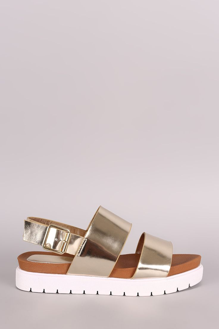 Description These stylish flatform sandals feature two metallic vegan leather bands, open toe, slingback strap with adjustable buckle closure, and lug sole. Finished with cushioned insole. Material: V