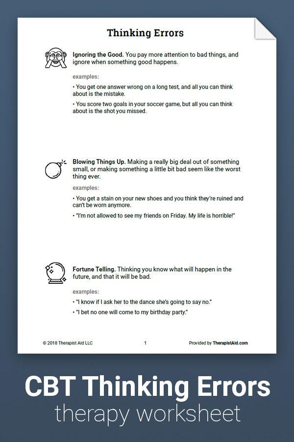 Thinking Errors Worksheet Cbt Pinterest Cbt Thinking Errors