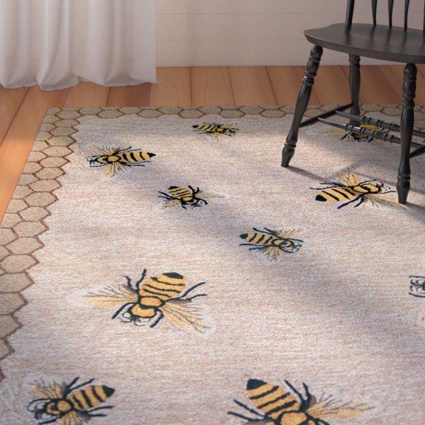 Calderon Honeycomb Bee Handmade Tufted Natural Indoor Outdoor Area