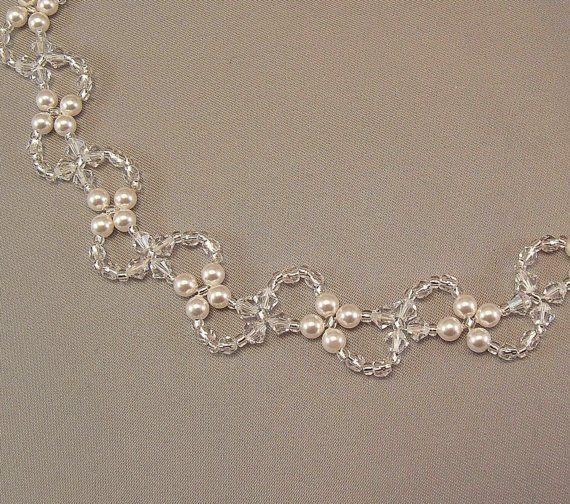 Perla y cristal collar Collar tejido de cristal por BridalDiamantes