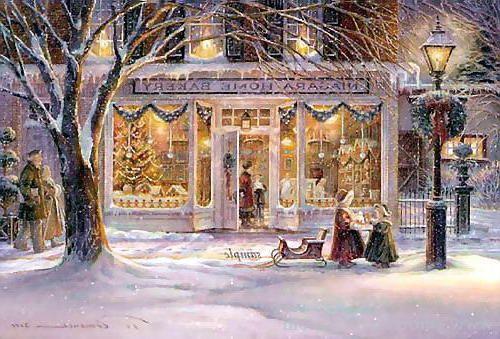 Navidad, navidad, niños, nieve, invierno, calle