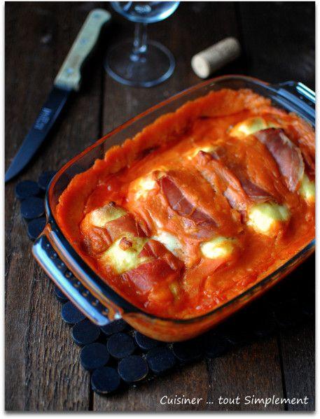 Quenelles au jambon sauce tomates
