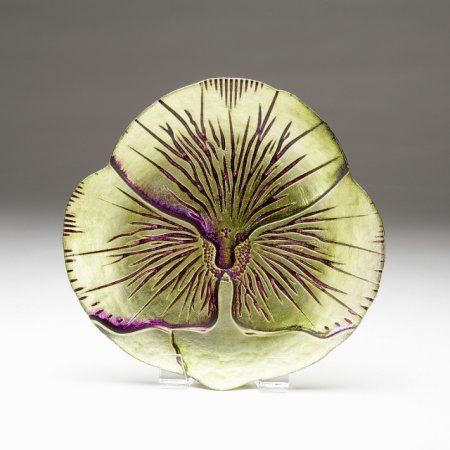 Set Of 4 Pansy 6.5 inch Green Purple Canape Plates