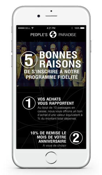 Smartphone app - Application mobile - Boutique fashion brand - carte de fidélité numérique pour application