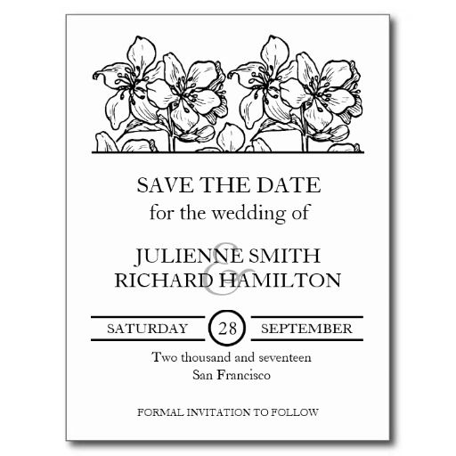 Vintage Blossoms | Black and White Save the Date