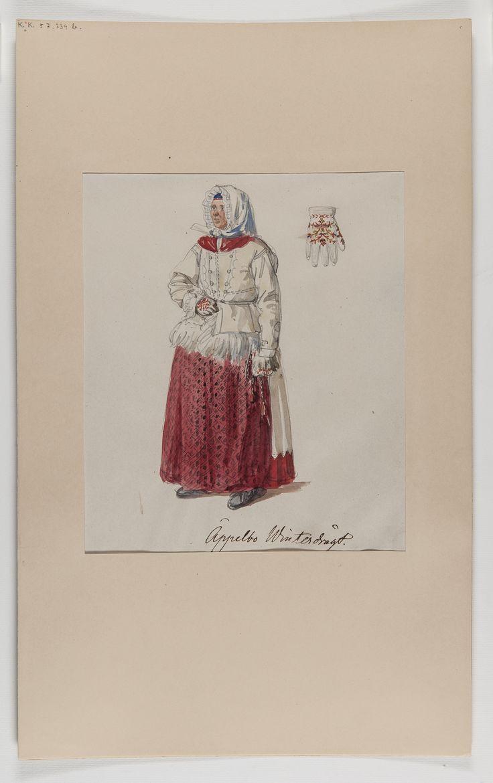 """Akvarellerad handteckning av J W Wallander. Kvinnodräkt från Äppelbo, Dalarna. Text: """"Winterdrägt"""". Nordiska museets…"""