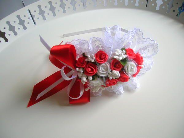 İndirimde - Kırmızı -Beyaz Çiçekli Lohusa Tacı 21