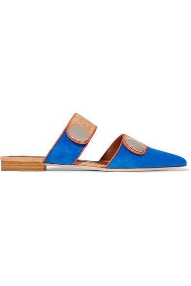 Malone Souliers - + Roksanda Lee Color-block Suede Slippers - Blue