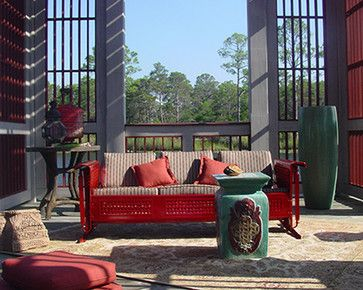 Contemporary Asian-inspired outdoor dock with Retropatio restored vintage outdoor glider as centerpiece. Photo ©nicki huggins. Glider for purchase at : Contemporary Asian-inspired outdoor dock with Retropatio restored vintage outdoor glider as centerpiece. Photo ©nicki huggins. Glider for purchase at: http://www.retropatio.com/