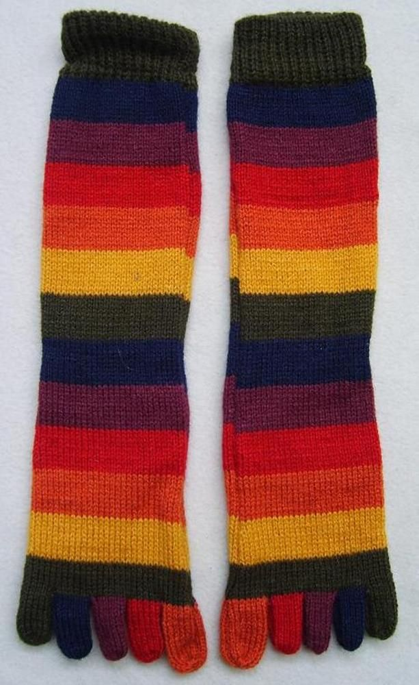 NEW, 100% ALPACA WOOL STRIPED MULTICOLORED SOCKS WITH TOES, 1 PAIR, SIZE 7-9 #ANDEANSHELTER #Wintersocks