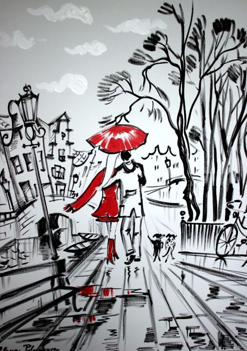 Nu in de #Catawiki veilingen: Elena Polyakova - Walking with dogs in Amsterdam