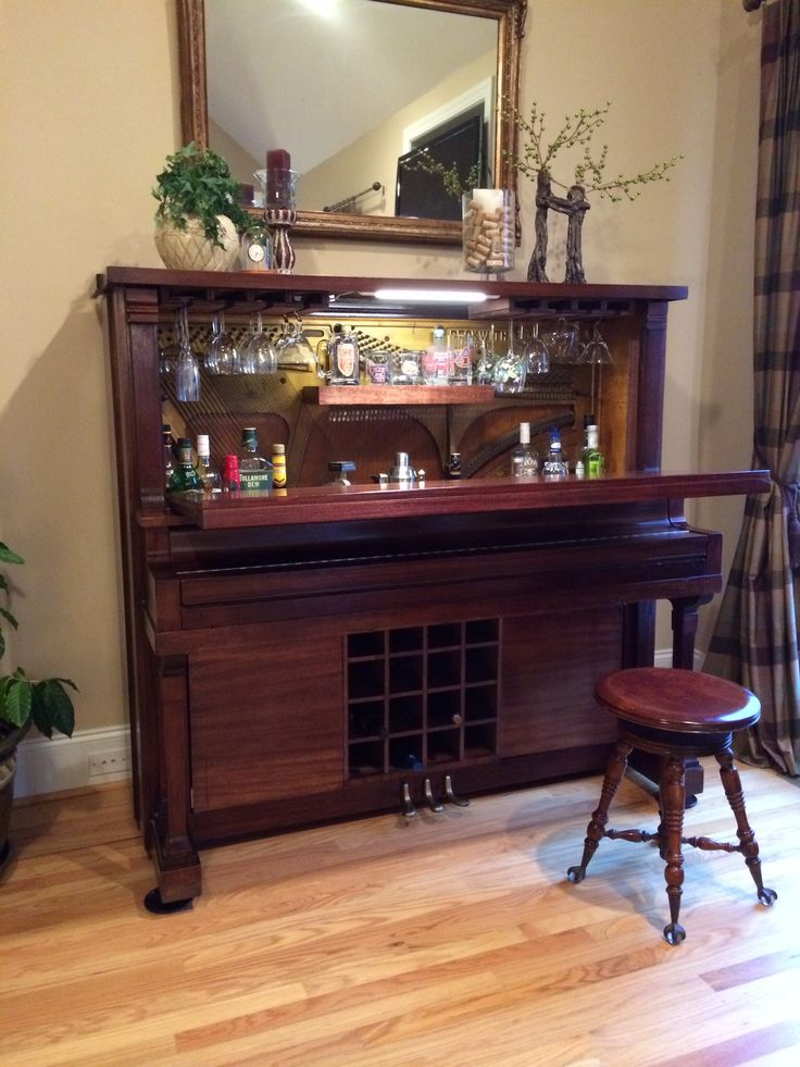 Piano bar made from my great grandma's 1902 upright. #piano #bar #repurpose