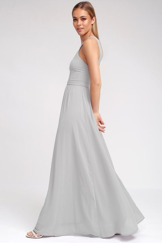 6389d7680c943 More romantic than a candlelit dinner or a trip to the Eiffel Tower, the Air  of Romance Grey Maxi Dress will have you feeling the love!