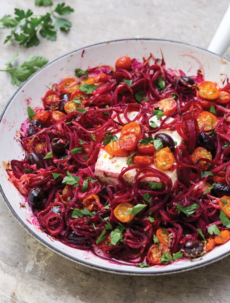 Mediterranean Beetroot and Feta Frying Pan Bake from the Inspiralized cookbook. This delicious, healthy, Greek-inspired recipe is a great way of using your spiralizer.