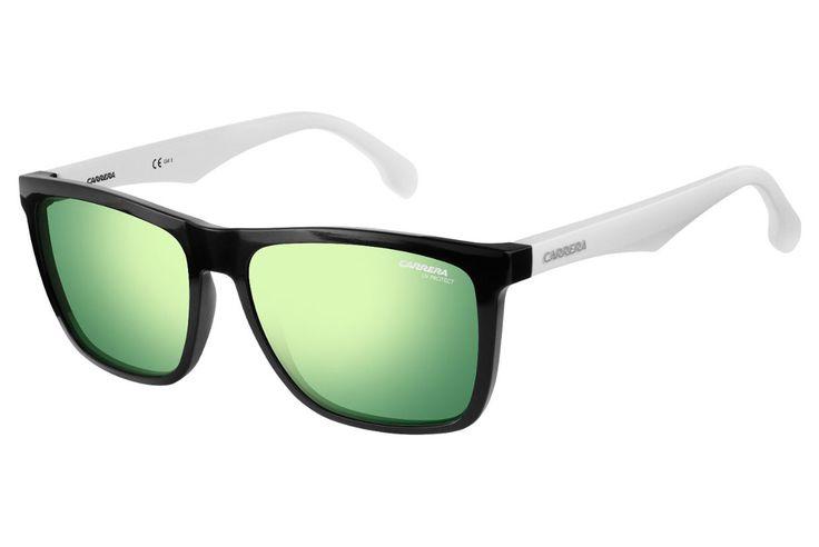Carrera - 5041/S Black White Sunglasses, Green Lenses