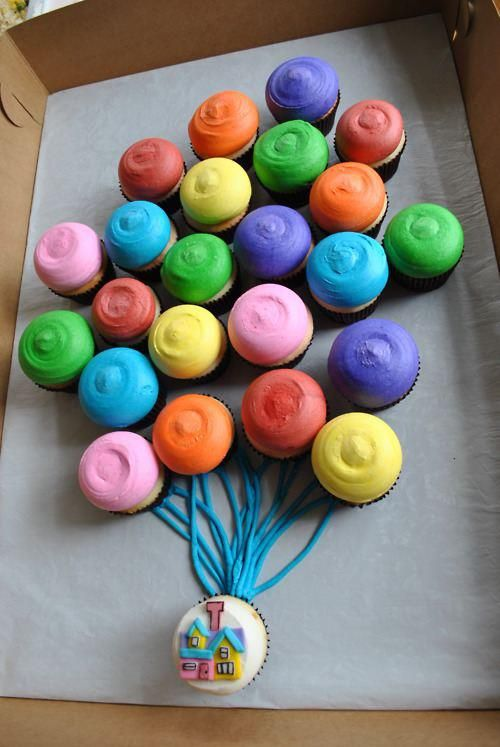 Cute Balloon Cupcake Cake. Up. Do this with cookies and ribbon.