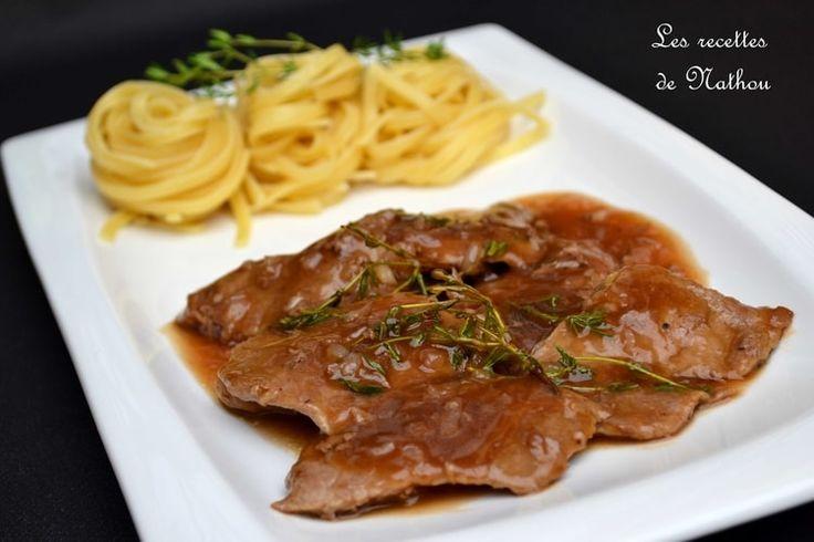 Escalopes de veau, sauce au vin Marsala, échalote et thym