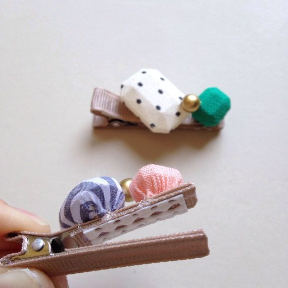 Fabric Jewels Hair Clips by HOMAKO on Etsy