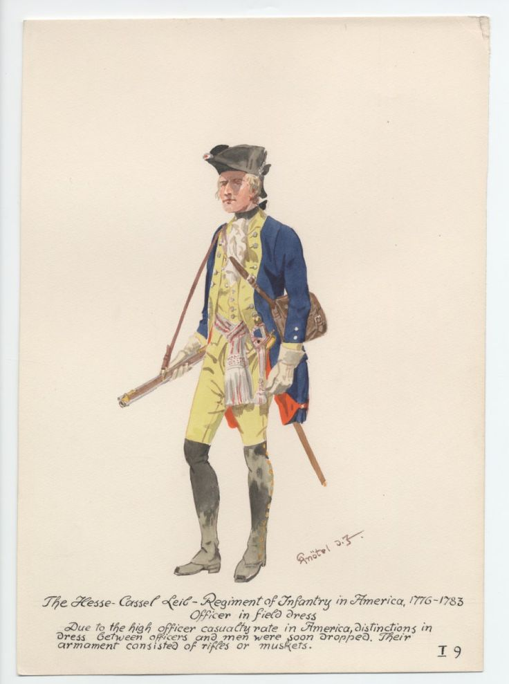 Hesse-Cassel Leib-Regiment of Infantry, Officer in Field Dress, in America 1776-1783 by H.Knotel