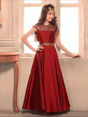 Maroon Taffeta Silk Readymade Kids Gown ,Indian Dresses