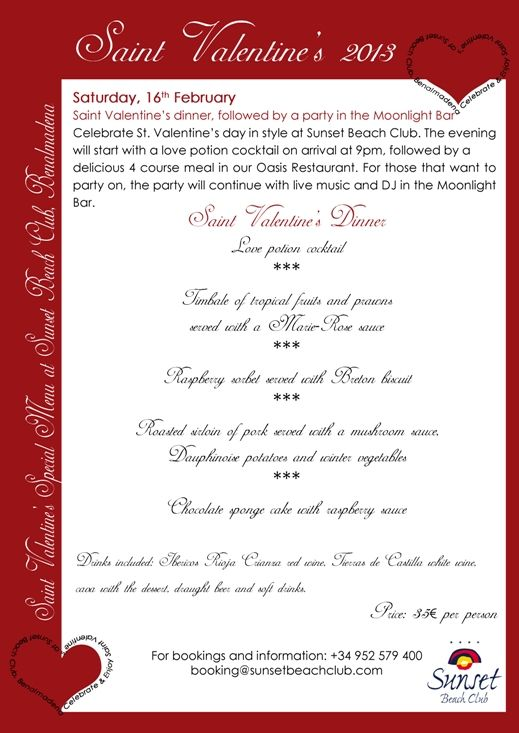 Valentines day menu at Sunset Beach Club in Benalmadena...yummy!!!