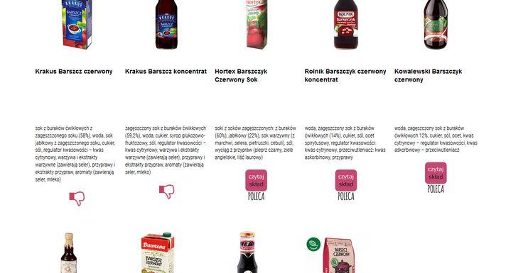 Czytamy skład i porównujemy etykiety produktów Barszcz czerwony. Zobacz skład i polecane produkty przez Czytaj Skład