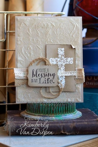 Natural Filter Paper- Learn how to use the Filter Paper to achieve this embossed look on your hand made cards.    Blessed by God, Stampin' Up!, Kimberly Van Diepen www.stampinbythesea.com