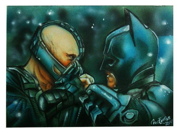 ACEO PSC  Batman Rises - Batman VS. Bane Sketch card original DC Comics #batman #sketchcard #ACEO