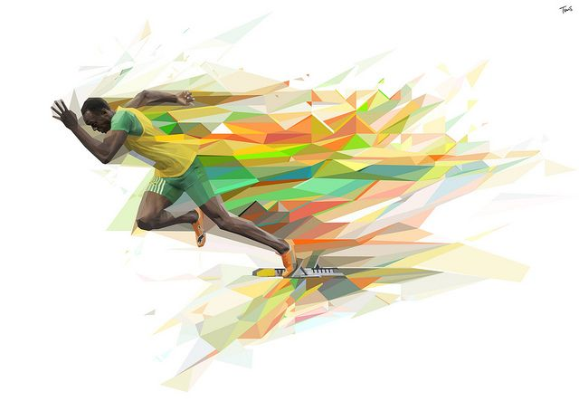 Illustration of Jamaican sprinter Usein Bolt for Gatorade New Line Series advertising campaign.